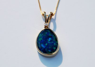 Australian Opal Pendant of  Deep sea blues and greens