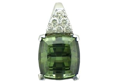 Vibrant Green tourmaline and diamond  pendant