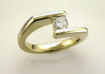 Contemporary angular Bypass  diamond ring