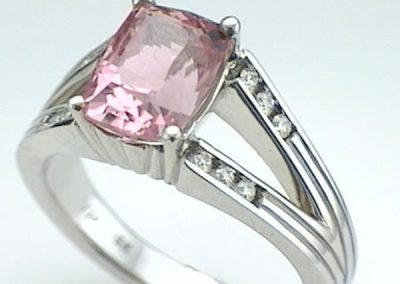 Pink Nigerian Tourmaline diamond ring