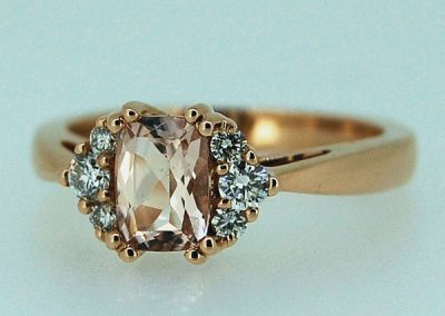 Pastel colored morganite ring