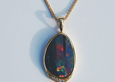 Deep watercolor opal pendant