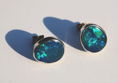 Dazzling black opal stud earrings