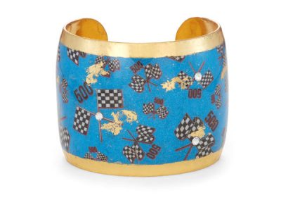 "Fashion Large 2"" wide Blue Cuff with Flags $348"