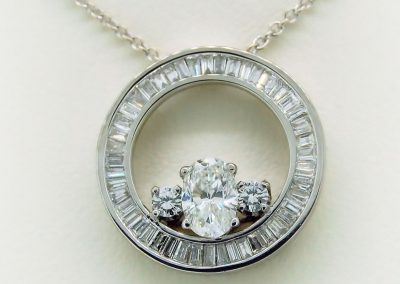 Bezel of Baguetts in a Circle Pendant