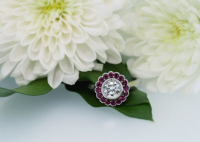 Divine Scalloped Ruby and Diamond Ring