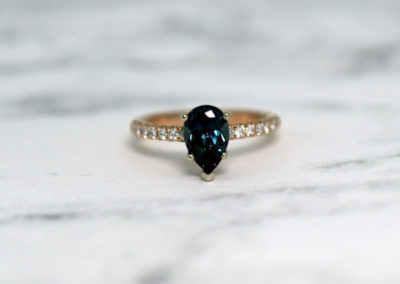 Mezmerizing Pear Shaped Alexandrite With Diamonds Down  Both Sides