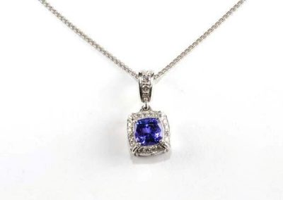 Amazing cushion cut Tanzanite diamond halo pendant