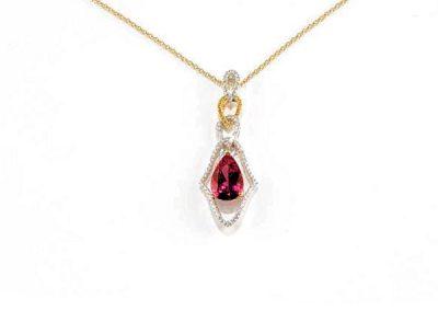 Petite drop down pink tourmaline pendant