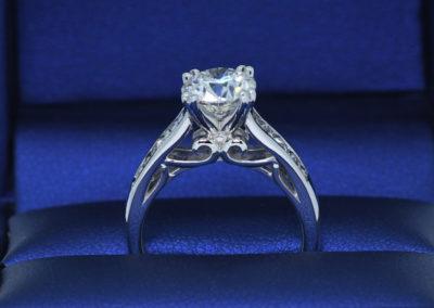 Pretty Diamond accent on the Bridge Engagement Ring